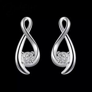 Jewelry - Sterling Silver Cubic Zirconia Infinity Earrings